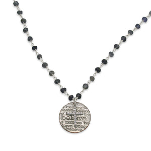Believe iolite necklace with CZ cross
