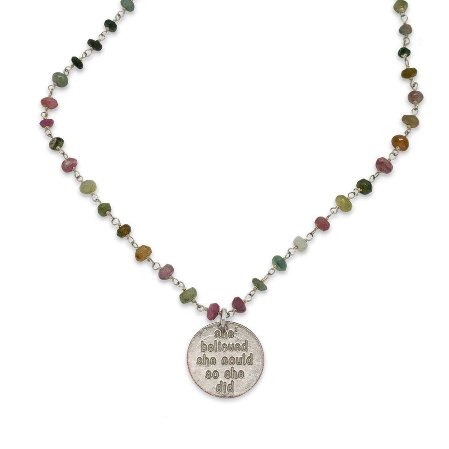 Mariamor She Believed She Could Necklace, Watermelon Tourmaline