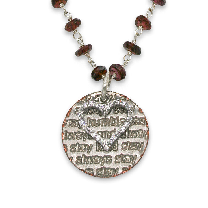 Mariamor Humble and Kind, CZ Heart Necklace, Garnet