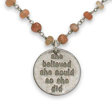 She Believed She Could peach moonstone necklace