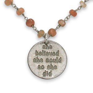 Mariamor She Believed She Could Necklace, Peach Moonstone