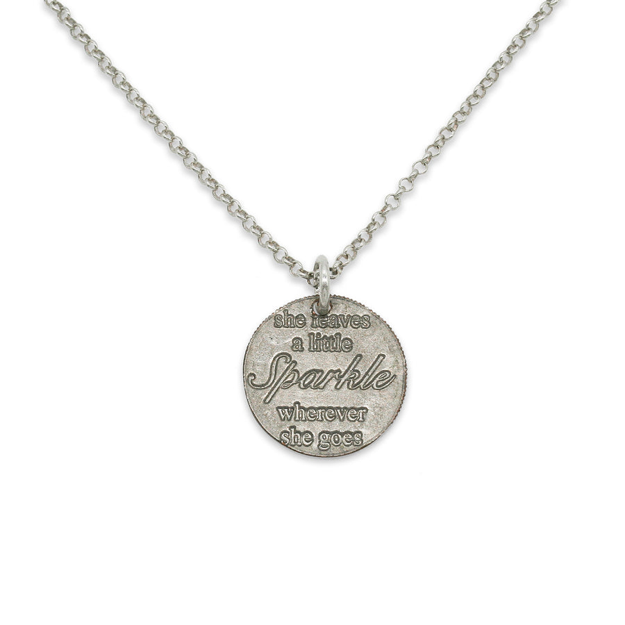 Mariamor Leave a Little Sparkle Necklace, Sterling Silver