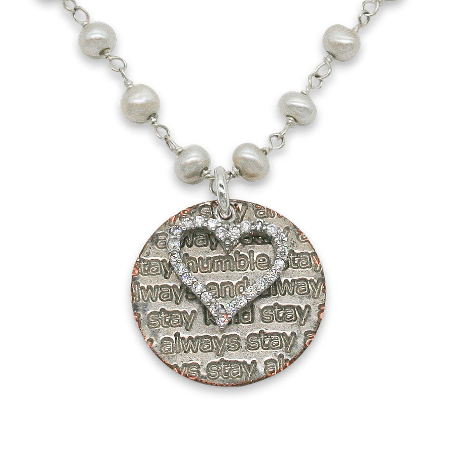 Mariamor Humble and Kind Coin, CZ Heart Necklace, Freshwater Pearl