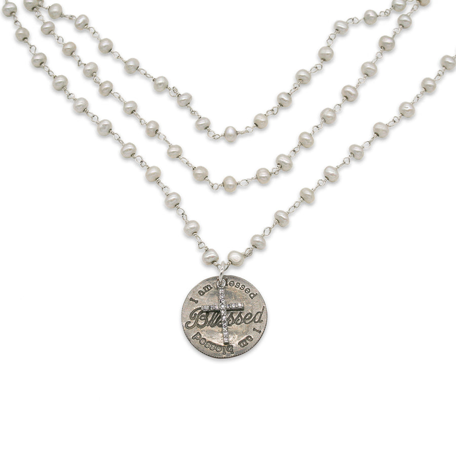 Mariamor Blessed, CZ Cross Triple Wrap Necklace, Freshwater Pearl