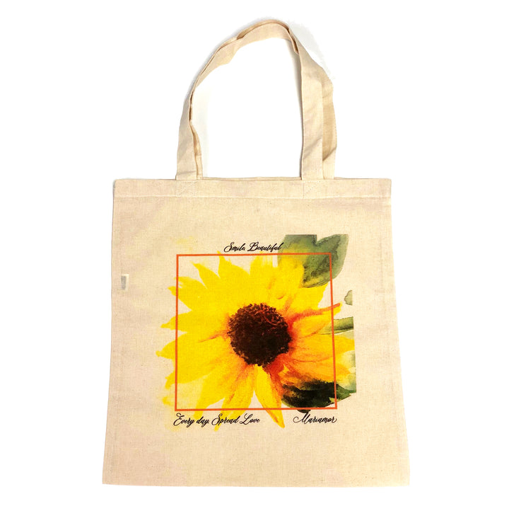 Mariamor Smile Beautiful Painted Sunflower Canvas Bag