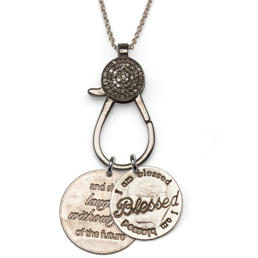 Mariamor She Laughs Without Fear Quarter and Blessed Dime, Diamond Charm Holder Necklace, Sterling Silver