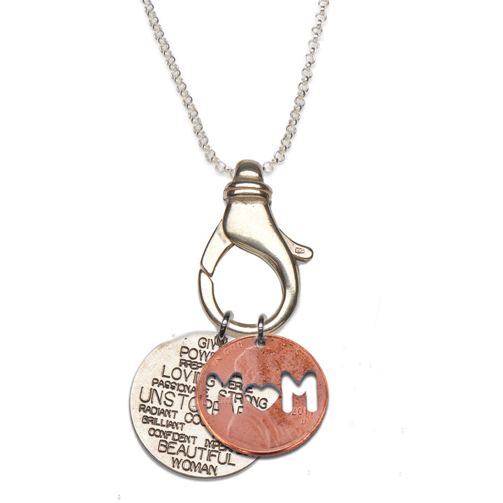 Mariamor Unstoppable Quarter, Mom Penny Charm Holder Necklace, Sterling Silver