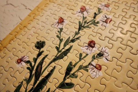 Close up of Floral Lifestyle art puzzle by Taylor Victoria.