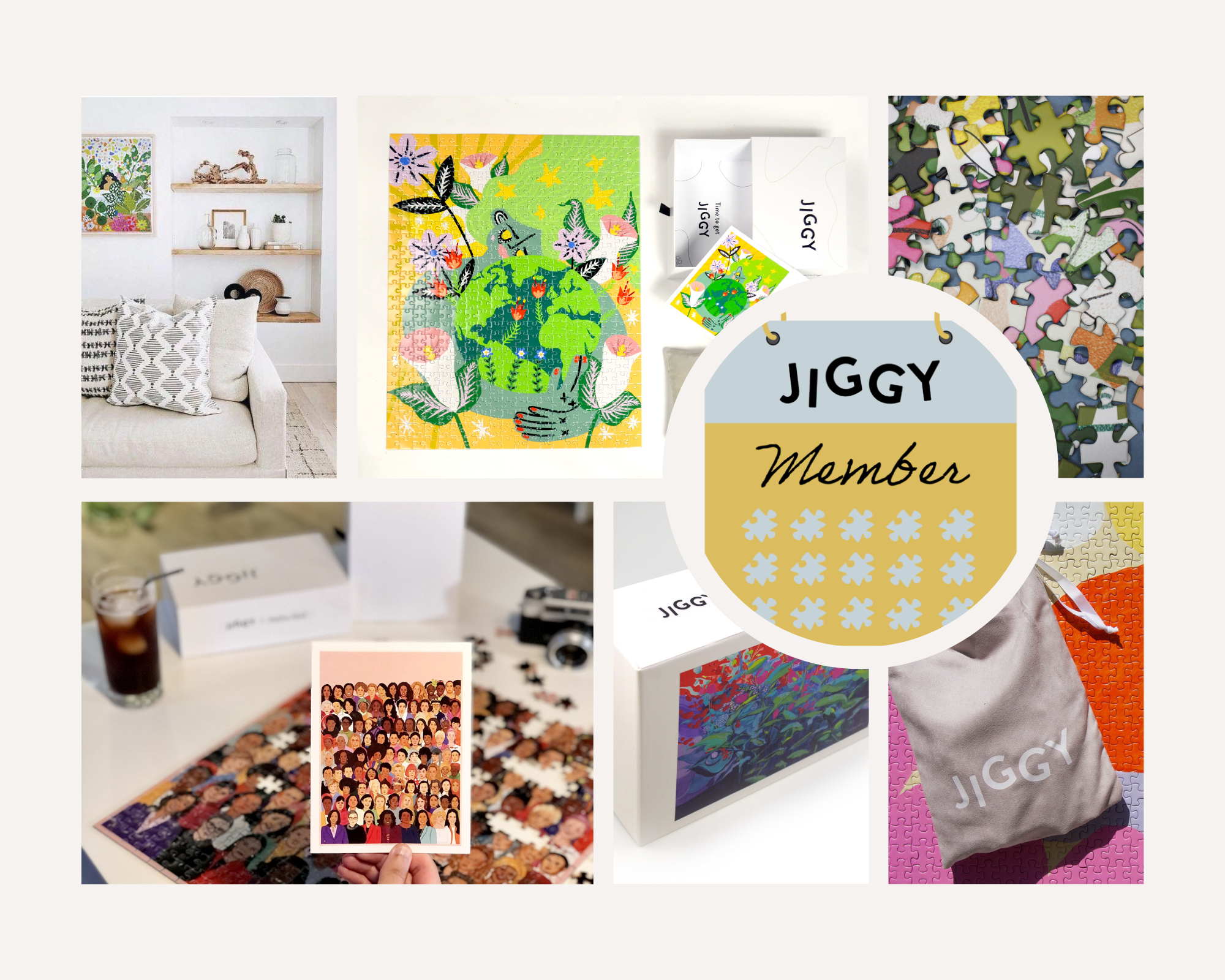 Photo collage of Jiggy membership products