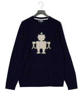 Chunky Yarn ROBOT Embroidery Sweater