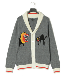 Shawl Collar Masked Dog + Scared Cat Intarsia Cardigan