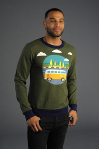 (New) Road Trip Camper Bus Graphic Cashmere Blend Sweater