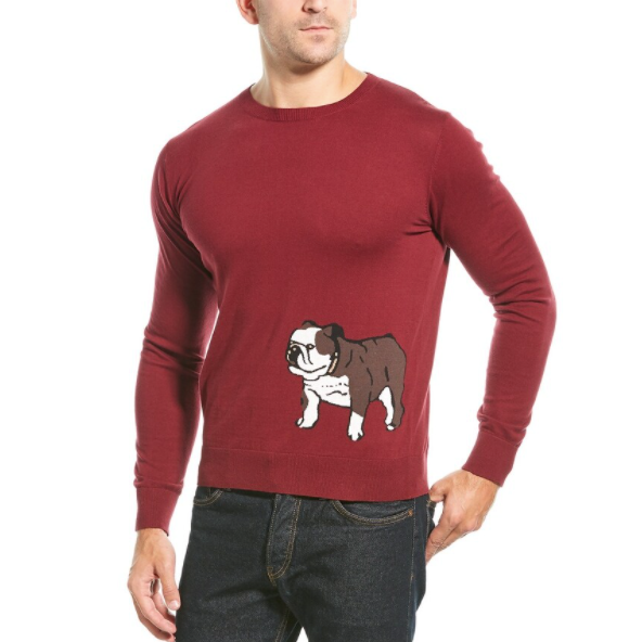 Bull Dog Graphic Cashmere Blend Sweater