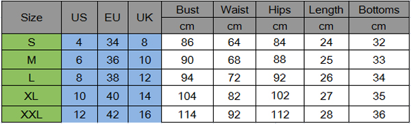 size chart yoga / gym outfit