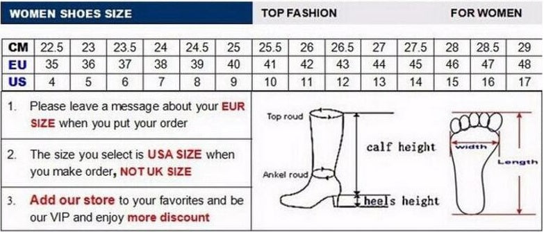 high heel ankle boots size chart