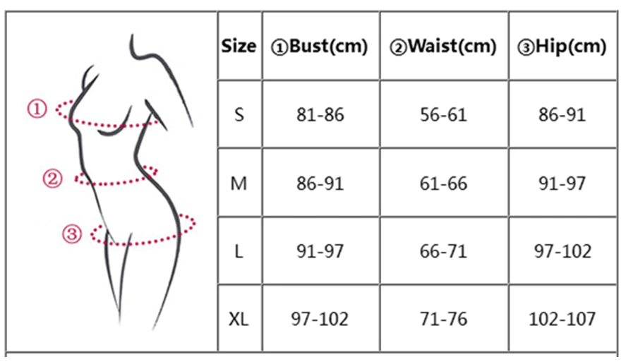 size chart for fitness outfit