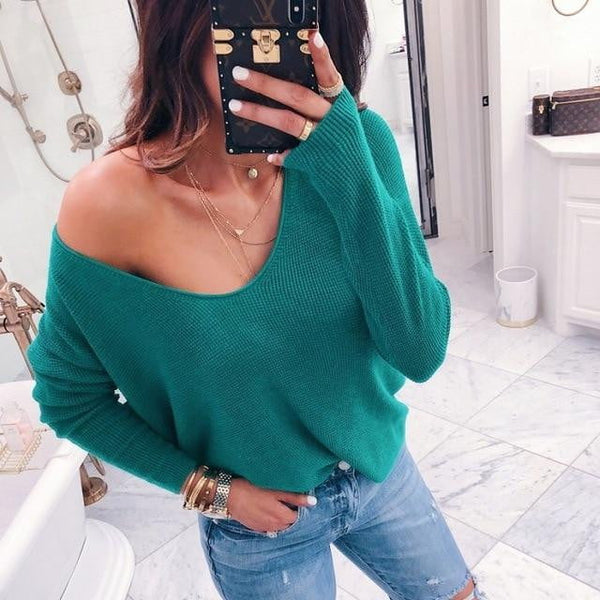 Sexy V-neck Off Shoulder Sweater Casual Long Sleeve Knitted Top-sweater-Vinny's Digital Emporium