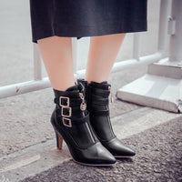 Women's High Heels Ankle Boots Pumps Roma Zip Up Shoes Pointed Toe Retro-ankle boots-Vinny's Digital Emporium