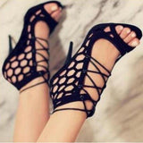 Womens High Heel Sandals Cross Straps Hollow Open Toe Shoes-shoes-Vinny's Digital Emporium