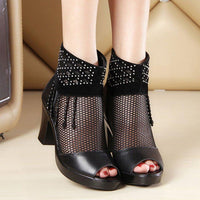 Women's High Heels Chunky Lace Mesh Sandals Tassel Summer Casual Shoes-shoes-Vinny's Digital Emporium