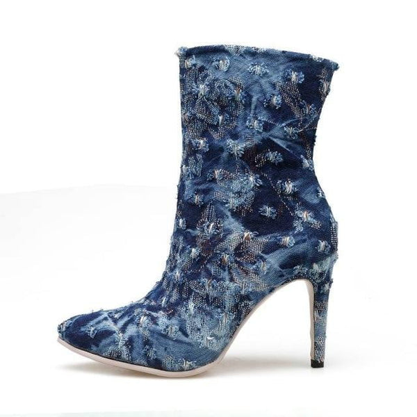 Denim High Heel Ankle Boots-ankle boots-Vinny's Digital Emporium
