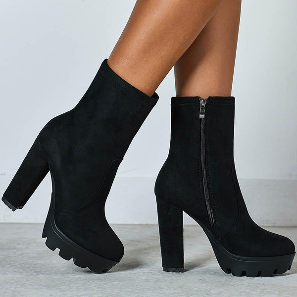 Black Chunky Heels Ankle Boots For Women