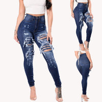 High Waist Ripped Hole Sexy Denim Blue Jeans-jeans-Vinny's Digital Emporium