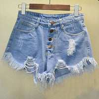 High Waist Tassel Ripped Jeans Shorts-denim shorts-Vinny's Digital Emporium