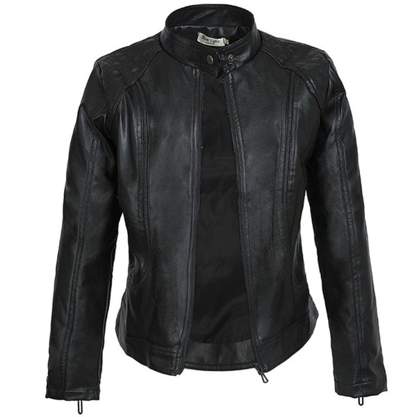 Black Faux Leather Biker Motorcycle Jacket For Women