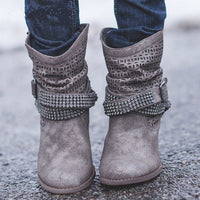 Womens Fashion Cowboy Boots | Women's Ankle Boots Low Heel-ankle boots-Vinny's Digital Emporium