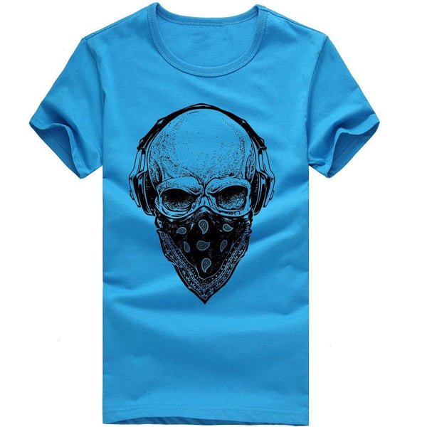 Men T Shirt Short Sleeve Skull Printing Tees Cotton Shirt Blouse-tshirt-Vinny's Digital Emporium