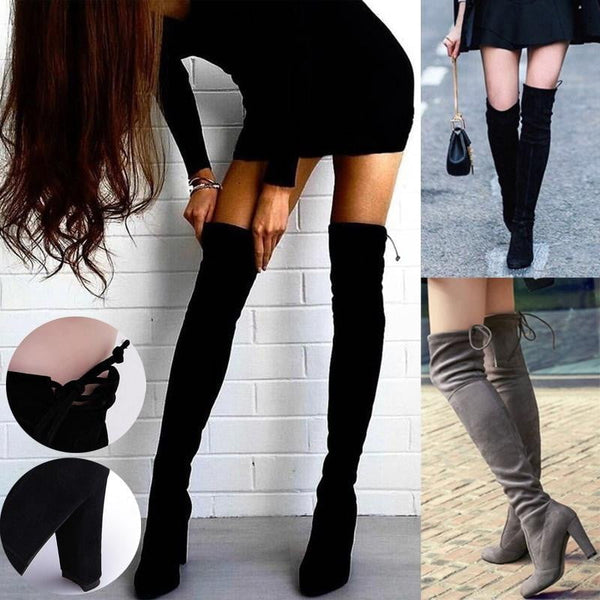 Women Boots Stretch Thigh High Over the Knee Boots Fashion Shoes-boots-Vinny's Digital Emporium
