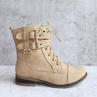 Women's Ankle Booties Lace-up Low Heel Boots-shoes-Vinny's Digital Emporium