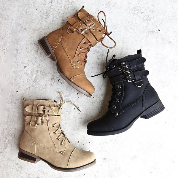 Ankle Booties Lace-up Low Heel Boots
