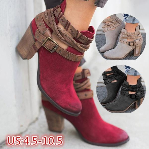 Ankle Booties Womens Short Boot Vintage Chunky Low Heel Shoes-booties-Vinny's Digital Emporium