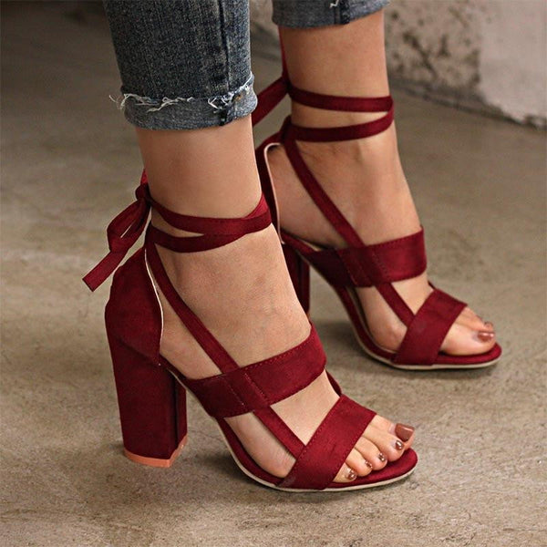 Women Shoes Thick High Heeled Suede Straps Party Club Sandals 6 Colors-shoes-Vinny's Digital Emporium