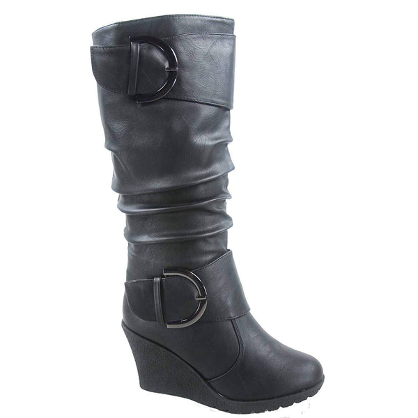 Mid-Calf Boots With Wedge Heels-wedge heels boots-Vinny's Digital Emporium