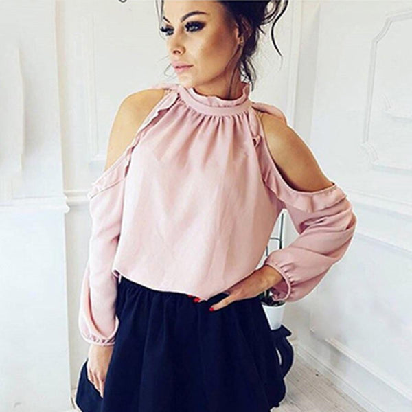 Sexy Off Shoulder Shirt | Casual Long Ruffle Sleeve Blouse-blouse-Vinny's Digital Emporium