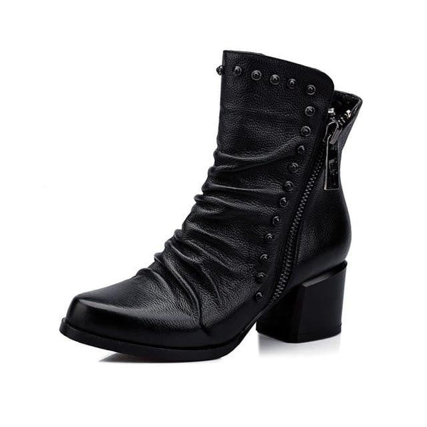 Women's Leather Ankle Boots-ankle boots-Vinny's Digital Emporium