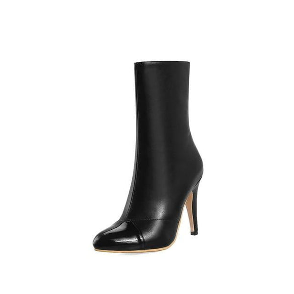 Mid-Calf High Heel Boots | Pointed Toe High Heel Boots-mid-calf boots-Vinny's Digital Emporium