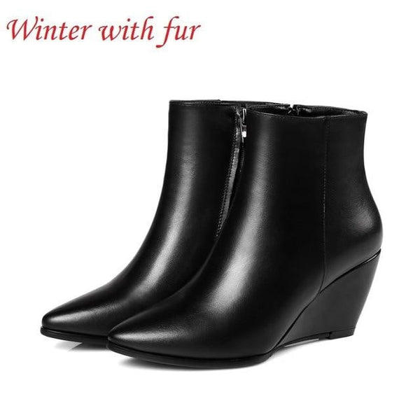 Genuine Leather Wedge Heels Boots | Pointed Toe Ankle Boots-wedge heels boots-Vinny's Digital Emporium