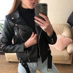 Faux Leather Biker Jacket With Rivets For Women-leather jacket-Vinny's Digital Emporium