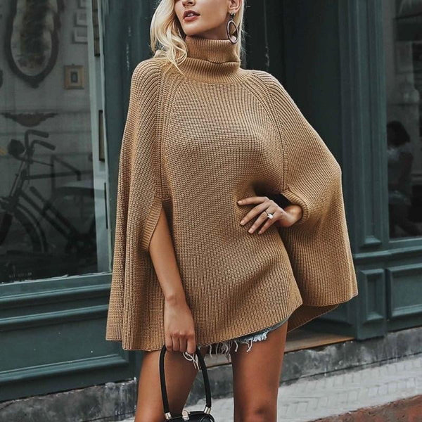 Pullover Poncho Style Turtleneck Knitted Sweaters-sweater-Vinny's Digital Emporium