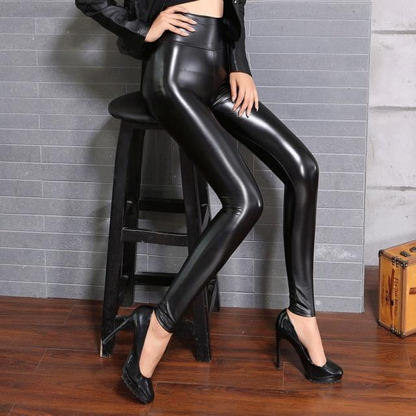 Skinny High Waist Leggings | Faux Leather Leggings-leggings-Vinny's Digital Emporium