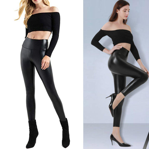 Black Faux Leather Leggings | Women's Pleather Stretchy Pants-leather leggings-Vinny's Digital Emporium