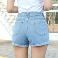 Vintage High Waisted Denim Jean Shorts For Women-denim jean shorts-Vinny's Digital Emporium