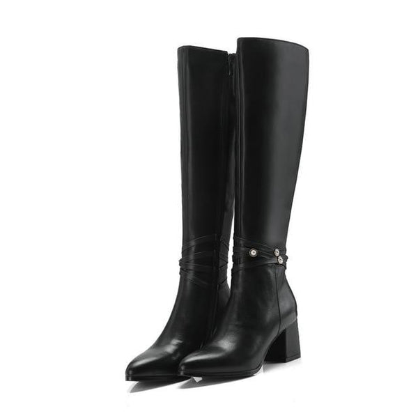 Genuine Leather Knee High Boots-knee high boots-Vinny's Digital Emporium