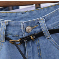 Vintage High Waist Cuffed Jeans Shorts For Women-denim jean shorts-Vinny's Digital Emporium