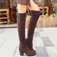 Knitted Thigh High Boots | Women's Slim Knee High Boots-thigh high boots-Vinny's Digital Emporium
