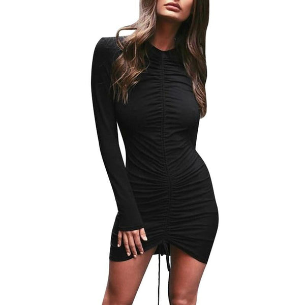 Sexy Bodycon Party Dress | Black Long Sleeves Ruched Mini Dress-mini dress-Vinny's Digital Emporium